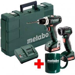 Metabo akkus szett PowerMaxx BS 12V/2,0 Ah Li-Ion fúró-csavarozó +ULA 12 LED (600788000) akkus lámpa +ajándék Metabo bögre