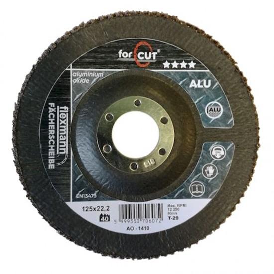 For Cut Alu lamellás csiszolókorong 125x22mm P40, kúpos,alumínium